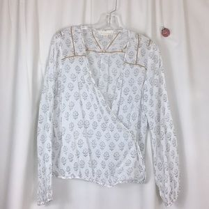 Lovestitch, front wrap, blouse, EUC, size M.